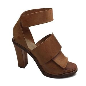 Acne Distressed Leather Wraparound Ankle Heels 39